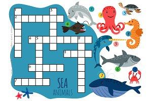 Vector sea animals crossword