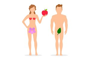 Apple, Adam and Eve silhouettes