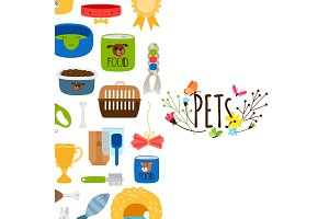 Vector pets background with pet shop