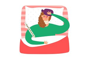 Cartoon sick woman lying in bed with