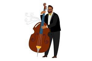 Jazz man contrabassist, vector