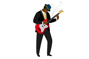 Jazz guitarist in hat with musical