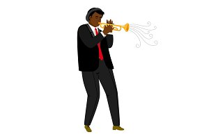 Jazz trumpeter playing on concert