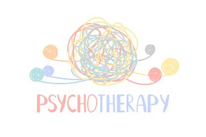 Psychotherapy abstract color tangle
