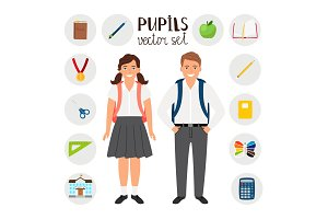 Pupils boy and girl. Icons set tools