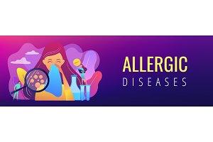 Allergic diseases concept banner