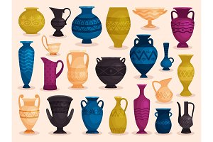 Set of colored antique vases. Vector