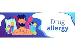 Drug allergy concept banner header.