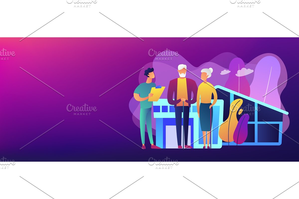 Nursing Home Concept Banner Header Illustrations