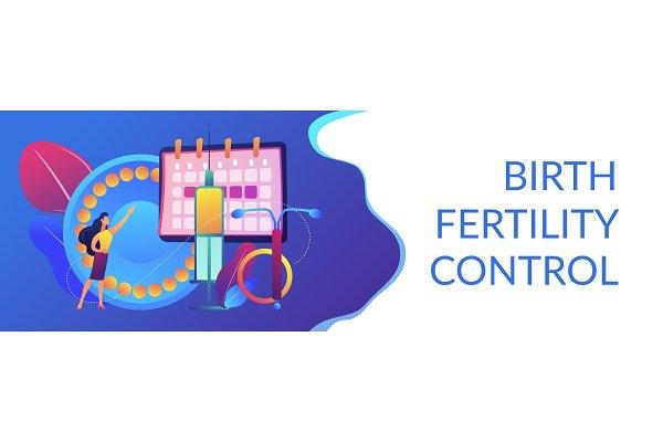 Female contraceptives concept banne…