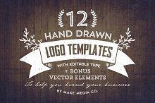 Hand Drawn Logos + Elements Vol. 1