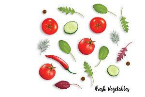 Fresh vegetables herbs and spices