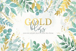 Watercolor and Gold Leaves Clip Art