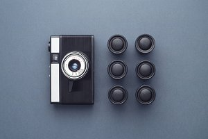 Vintage Photo Camera and camera film