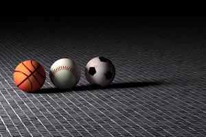 Basket, baseball and soccer