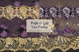 Purple and Gold Lace Clipart