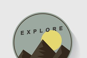 Mountain and Moon Explore Graphic