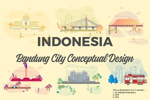 Bandung City of Indonesia Vector