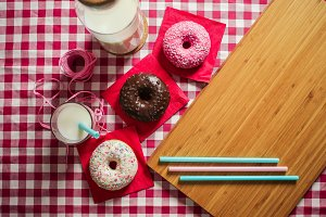 Colorful Donuts with Place for Text