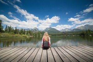 Girl with Rucksack at High Tatras