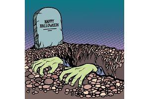 zombie hands happy Halloween grave