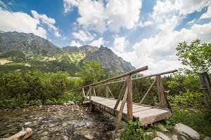 Wooden Bridge in High Tatras Mountai