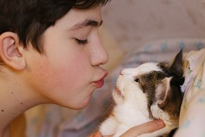 teenager boy kiss cat close up photo