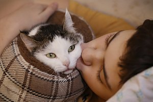 teenager boy with cat kissing hug ph