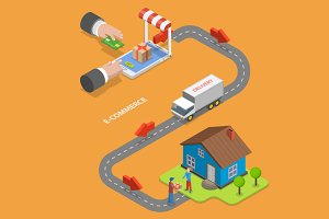 E-commerce isometric concept