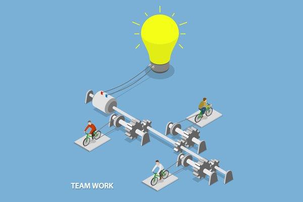 Team work isometric concept