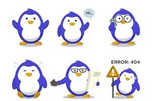 Illustration Of Cute Penguin Set