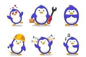 Illustration Of Cartoon Penguin Set