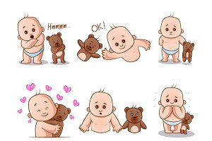 Illustration Of Baby And Teddy Bear