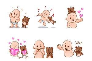 Cute Baby And Teddy Bear Set