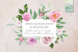 Spring illustrations & monograms