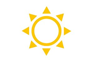 Yellow Sun icon. Vector and