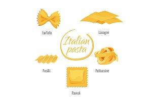Pasta of Italy, farfalle, lasagne
