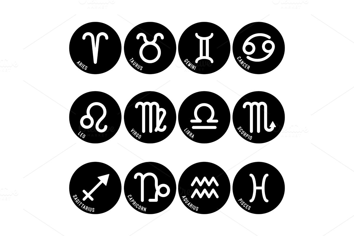 Astrology symbols, zodiac signs
