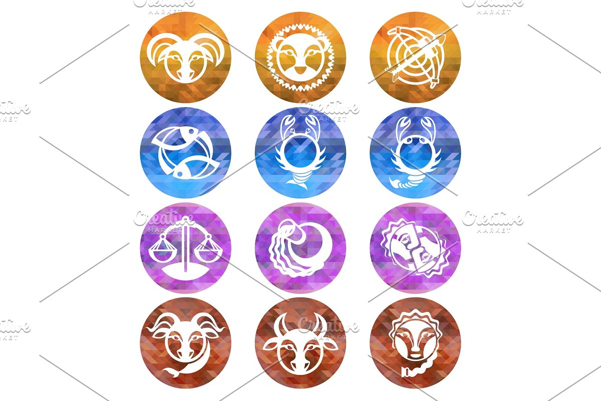 Zodiac Signs Astrology Symbols Illustrations Creative Market