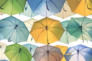 Colorful umbrellas up in the air