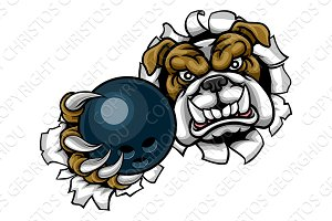 Bulldog Bowling Sports Mascot