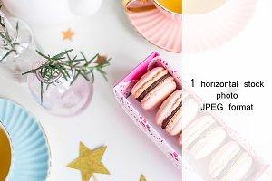 Pink macaroons and tea