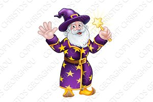 Wizard Cartoon Character with Wand