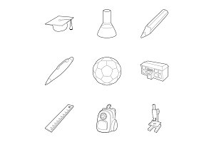 Schoolhouse icons set, outline style