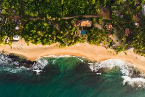 Deserted beach top view Tangalle Sri