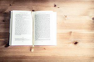 Book on a wooden table
