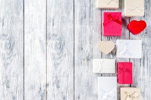 Valentine gift boxes background
