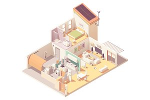 Vector isometric house cross-section
