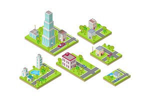 Isometric City Buildings Vector Set