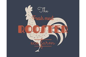 Vintage rooster logo for dairy and